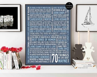 70 Things We Love About Dad  / For Mom / 70th Birthday Gift / For Him / For Dad  / For Her /  DIGITAL File / Printable JPG and PDF