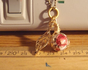 "My#157T- A RedRose/White Japanese Tensha Bead! w/Spiral Wraps! w/24"" Chain!  Size: 14mm..Nice Gift!"