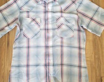 Mens Levis Pearl Button Up Short Sleeve Shirt Medium