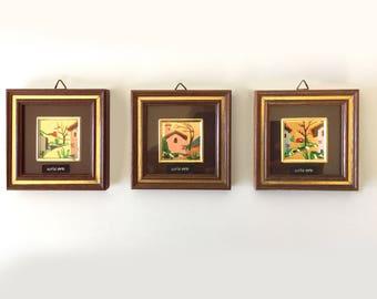 3 Vintage Gold Miniatures  Pictures, Italy landscape, Italian vintage