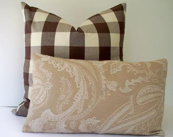 Paisley Taupe Pillow Cover Solid Tan Pillow Neutral Pillow Cover Taupe Pillow Cover Tan Paisley Pillow 0