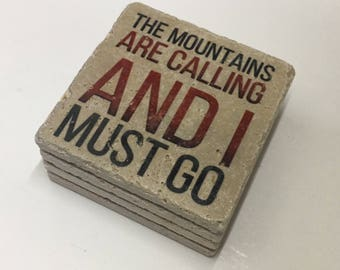 The Mountains Are Calling And I Must Go Mountain Coasters Natural Travertine Tile Stone Coasters Set of 4 with Full Cork