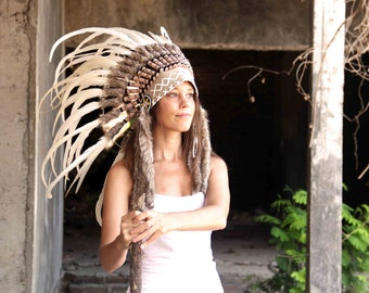ON SALE White feathers indian headdress replica, short length boho feather headdress native american inspired