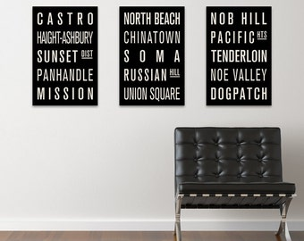SAN FRANCISCO Subway Sign Prints. Bus Scrolls (Collection of 3)