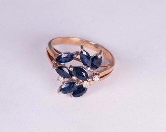 14K Yellow Gold Sapphire and Diamond Ring 2ct. tw., size 6.5