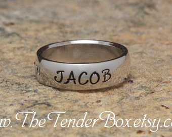 Personalized ring name ring longitude latitude ring coordinate ring hand stamped  high grade 316 stainless steel style TB7 Father's Day Gift