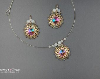 Beading Tutorial - Half Tilas Pendant Necklace and Earrings - Bezel 16mm rivoli using Half Tila Beads - Sunset Pendant and Earrings