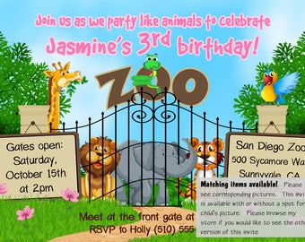 DIGITAL zoo invite, girl zoo birthday invite, zoo birthday invitation, animal invitation, animal invite, jungle invite, animal birthday