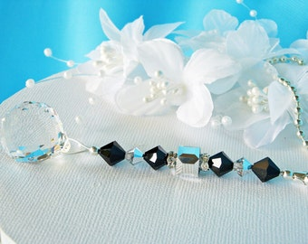 Ceiling Fan Pull Chain Swarovski Crystal Black and Silver Light Pulls