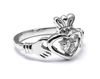 Diamond Solitaire Claddagh Engagement Ring