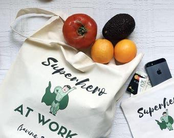 Vegan Tote Bag & Zipper Pounch set, canvas pencil pouch, Green Tote Bag, Canvas Tote Bag, Quote Tote Bag, Shopping Bag, Cotton Market Bag