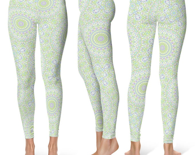 Spring Leggings Yoga Pants, Cute Printed Yoga Tights for Women, Summer Mandala Pattern