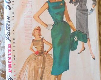 Simplicity 1232 sheath dress and jacket pattern, overskirt pattern, bust 32 pattern, 1950s pattern, kickpleat dress, longline jacket