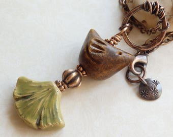 Art Nouveau Ceramic Pendant, Brown Bird with Ginkgo Leaf Layering Necklace, Hammered Copper Nature Jewelry, Mother's Day Gift