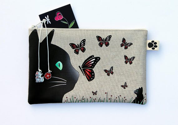 """Pencil case in natural linen """"Cat and butterflies"""""""