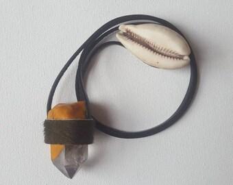 Handmade Quartz Crystal & Leather Necklace