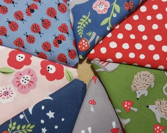 ORGANIC Cotton Fabric Fat Quarter Bundle, 7 prints from Monaluna Cottage Garden, Ladybugs, Hedgehogs, Foxes, Bunnies, Flowers, Mushrooms