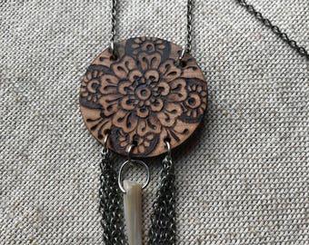 OOAK henna mandala necklace ~ woodburned wooden wood pendant ~ handmade dangle chain necklace