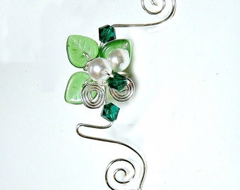Emerald Forest Elven Ear Cuff, No Piercing Ear Climber, Fairy Jewelry, Fantasy Vine Wrap, St Patricks Day  Spring Jewelry