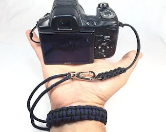 Thin Blue Line and Black Cobra Paracord Best Camera Wrist Strap - Comfortable Camera Strap - Professional Camera Strap For DSLR Cameras