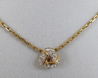 Vintage Sarah Coventry Signed Gold Tone and Diamante Knot Necklace - 1980s