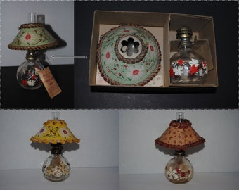 3 Vintage 1940s GLAMOR LITE Perfumed Miniature Oil Lamps with Shades -  One with Original Box