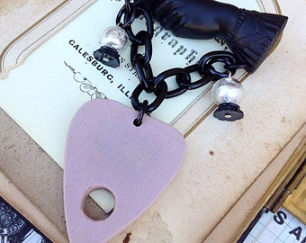Fortune Teller Brooch - Ouija Board Planchette Crystal Ball Victorian - Spiritual Gypsy Sideshow Mourning Pin