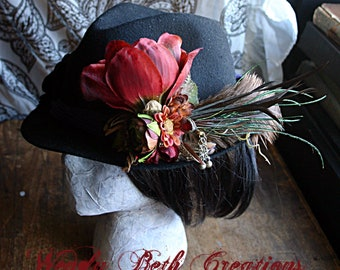 Burgundy Magnolia Hair Clip Fascinator - Hair Ornament, Tribal, ATS, Belly Dance, Steampunk, Red, Magnolia, Ostrich Feather, Hat Clip
