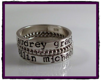 Sterling silver Stackable Name Rings with Beaded spacer Ring -SET OF 3- Personalized- Hand Stamped Ring-Size 5, 6, 7, 8, 9, 10