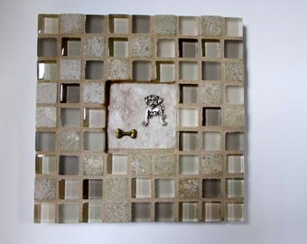 """Tan Champagne Beige Glass Marble Stone Mosaic Tile Trivet with Dog and Bone 6"""" x 6"""""""
