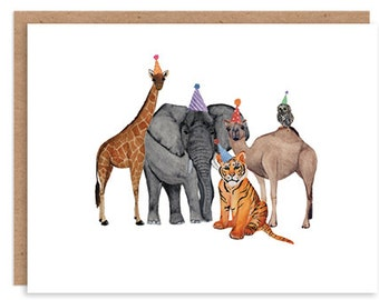 Animals with Party Hats Folded Card