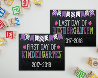 First day of Kindergarten - Chalkboard Sign - First Day of School - Back To School Sign - Last Day of Kindergarten - PRINTABLE 8x10