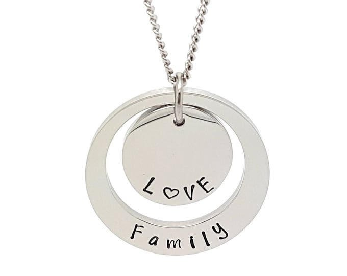 Disk pendants personalised jewellery personalised necklace family necklace silver hand stamped pendant necklace mum mozeypictures Choice Image