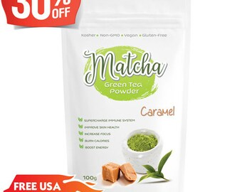 Japanese Caramel Matcha (100g) Rich in Antioxidants, Supports Weight Loss & Boosts Energy- Natural Flavor, No Sugar-FREE USA Shipping