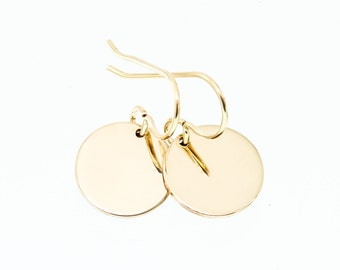 Gold disc earrings - simple gold earrings - minimalist earrings - circle earrings - simple gold jewelry - 14k gold filled jewelry - classic