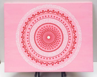 Pink and red dot mandala acrylic canvas painting