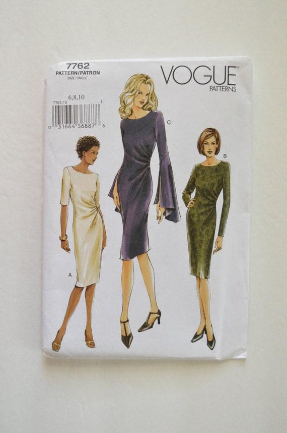 2000er Jahre Vogue Nähen Muster 7762 knielang hautenge Kleid w ...