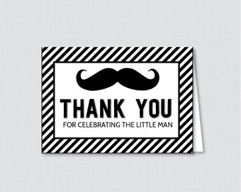 Printable Mustache Thank You Card - Printable Instant Download - Mustache Baby Shower Thank You Cards, Little Man Baby Shower - 0002-K