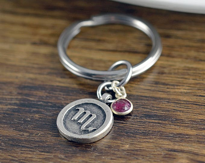 Zodiac Keychain, Zodiac Gifts, Engraved Keychain, Custom Keychain, Zodiac Jewelry, Scorpio Sign Gift, Scorpio Charm, Birthday Gifts for Her
