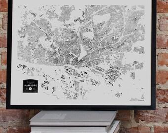 CityFabric Hamburg City Buildings Map Print