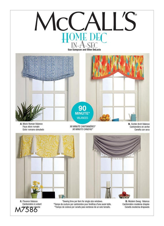 Sewing Pattern for Four Window Valances Patterns McCall\'s