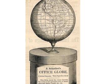 office globe 19th century original antique celestial engraving