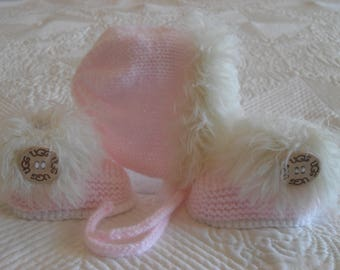 Instant Download Knitting Pattern Baby Girl Bonnet And Booties,  Baby Girl Booties And Hat - Three Sizes