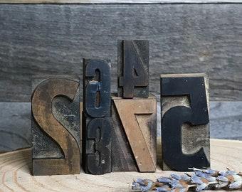 Vintage PRINTER'S Blocks- Wood Typeset Letters- NUMBERS- Typography- Industrial Printing Press- Vintage Letterpress Print Alphabet