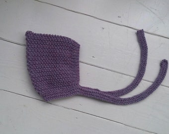 Baby hand knitted bonnet in heather/ unique and cute hat for child/ knit pixie hat/ photo prop