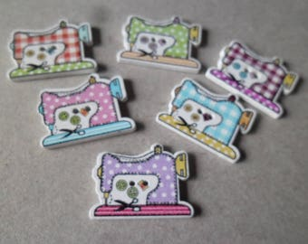 x 5 mixed buttons wood sewing with multicolored pattern 2 hole 26 x 20 mm