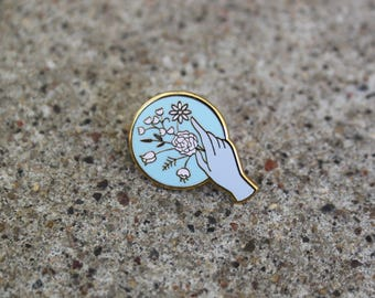 SECONDS SALE - Pastel Victorian Hand Pin - hard enamel pin, flair, pin collection, enamel pins, hand pin, bouquet, flower pin - DISCOUNTED