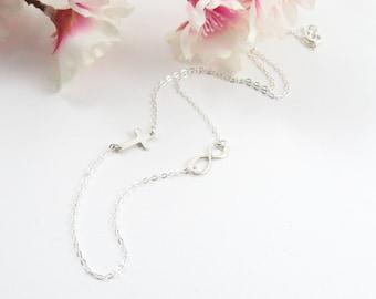 Side Cross Infinity Necklace, Sterling Silver Crucifx and Infinity Necklace, Silver Cross Necklace, Dainty Jewelry