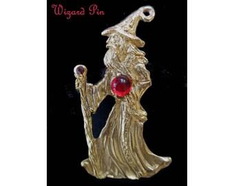 Wizard Pin * Gold Tone Wizard Brooch