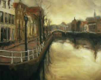 oil painting // landscape haarlem river spaarne // artistic work of art // hand-painted impressionism art